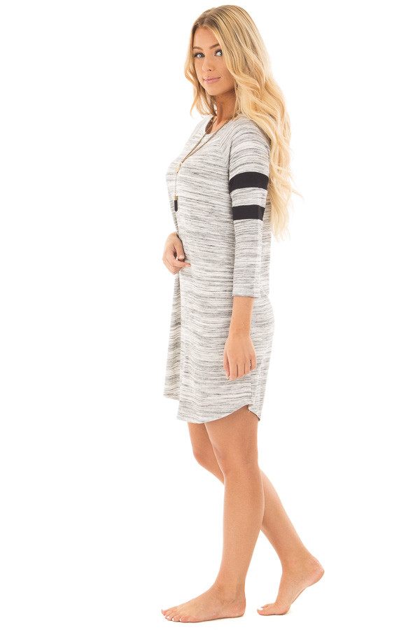 Heather Grey Two Tone Knit Dress with Striped Sleeve Detail side full body
