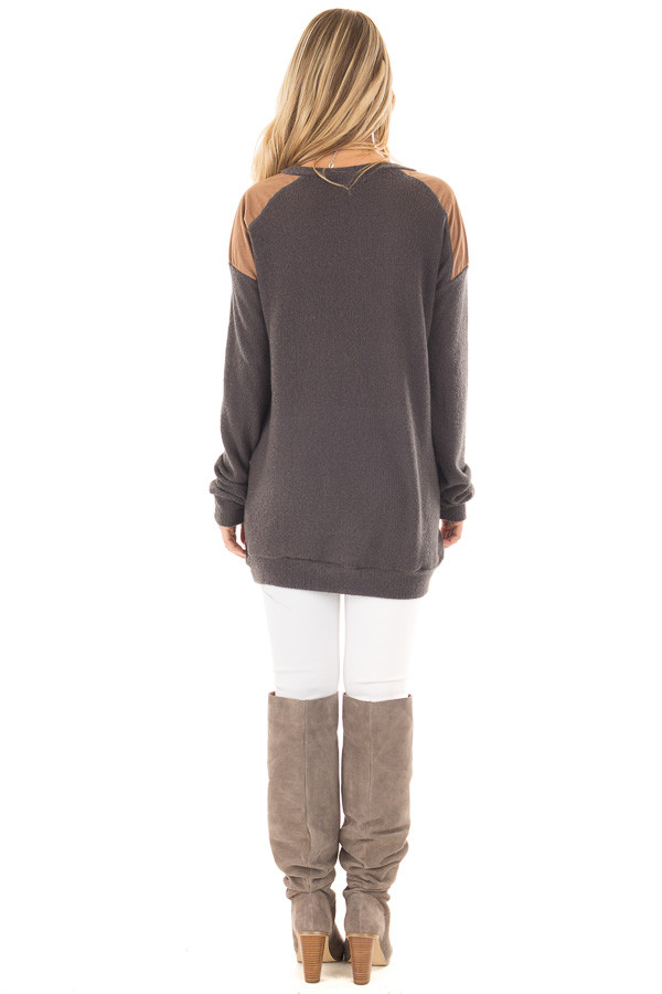 Charcoal Ribbed Knit Sweater with Faux Suede Details back full body