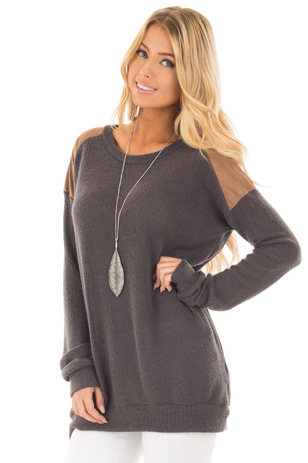 Charcoal Ribbed Knit Sweater with Faux Suede Details front close up