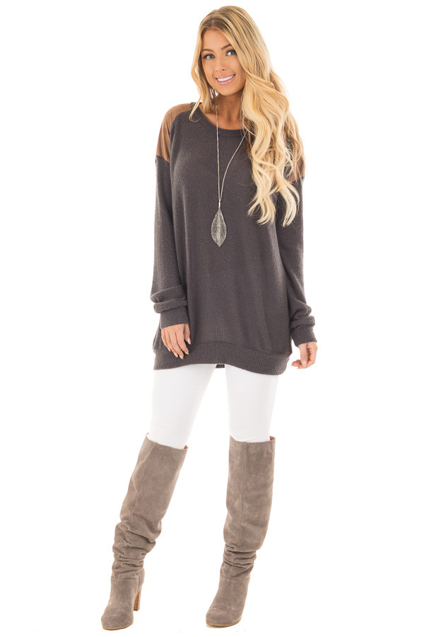 Charcoal Ribbed Knit Sweater with Faux Suede Details front full body