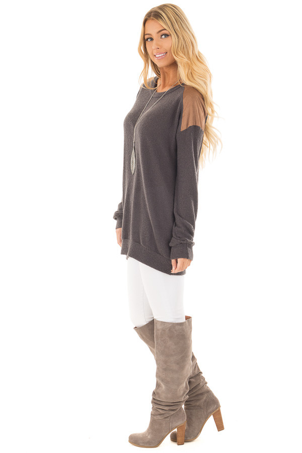 Charcoal Ribbed Knit Sweater with Faux Suede Details side full body