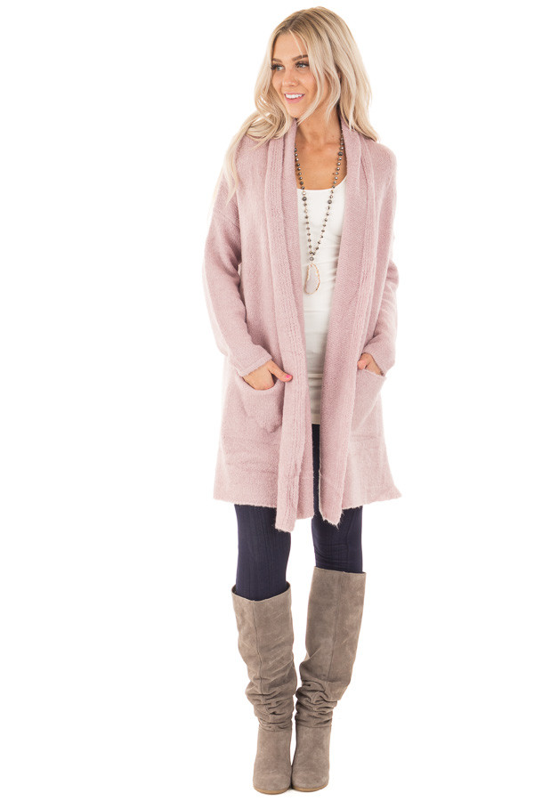 Dusty Pink Open Drape Long Sweater Cardigan with Pockets front full body