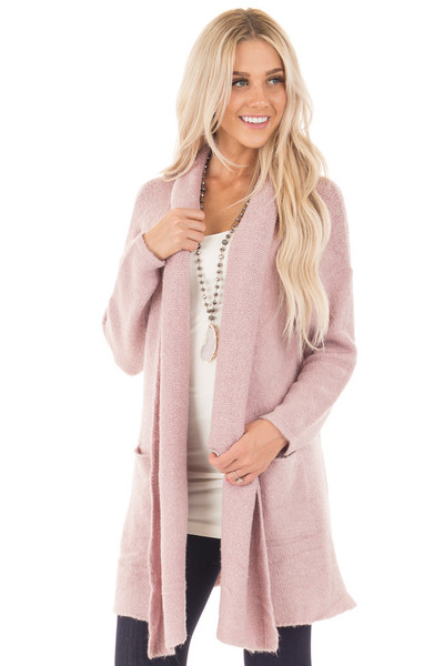 Dusty Pink Open Drape Long Sweater Cardigan with Pockets front close up