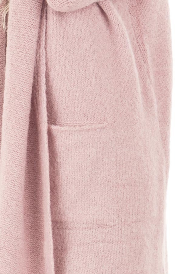 Dusty Pink Open Drape Long Sweater Cardigan with Pockets detail