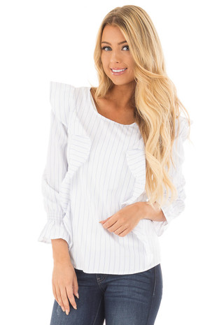 White and Blue Striped Woven Top with Ruffle Details front close up