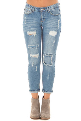 Light Wash Patched Distressed Cropped Skinny Jeans front view
