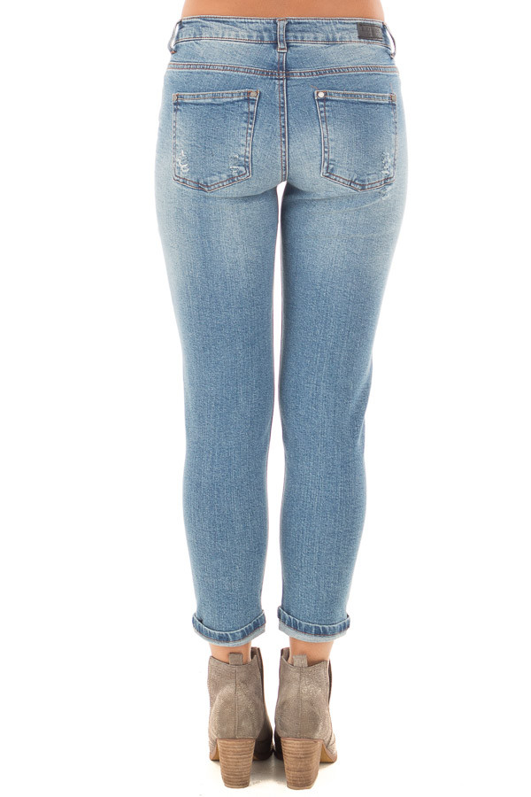 Light Wash Patched Distressed Cropped Skinny Jeans back view