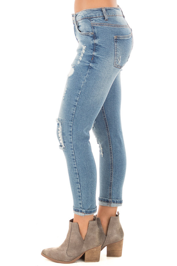 Light Wash Patched Distressed Cropped Skinny Jeans side left leg