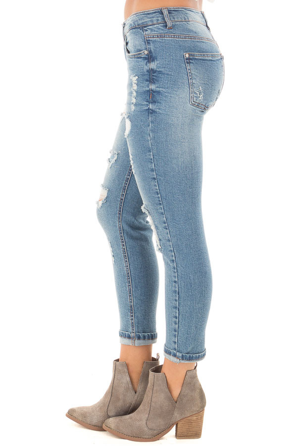 Light Wash Patched Distressed Cropped Skinny Jeans side right leg