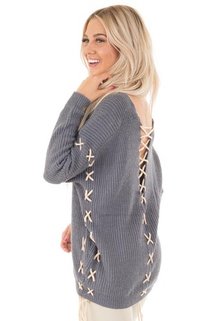 Slate Blue Sweater with Khaki Lace Up Details side close up