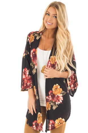 Black and Burgundy Floral Print Open Drape Kimono front close up