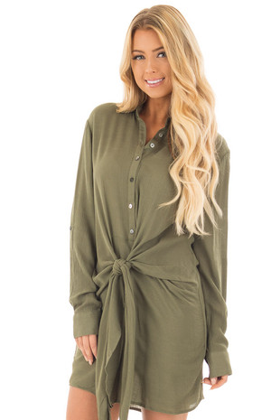 Olive Button Up Shirt Dress with Knotted Detail front close up