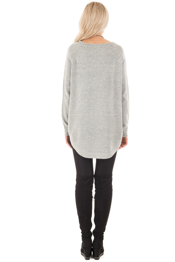 Heather Grey Soft Knit Sweater with Rounded Hem back full body