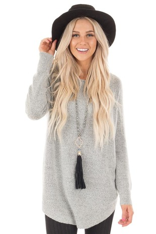Heather Grey Soft Knit Sweater with Rounded Hem front close up
