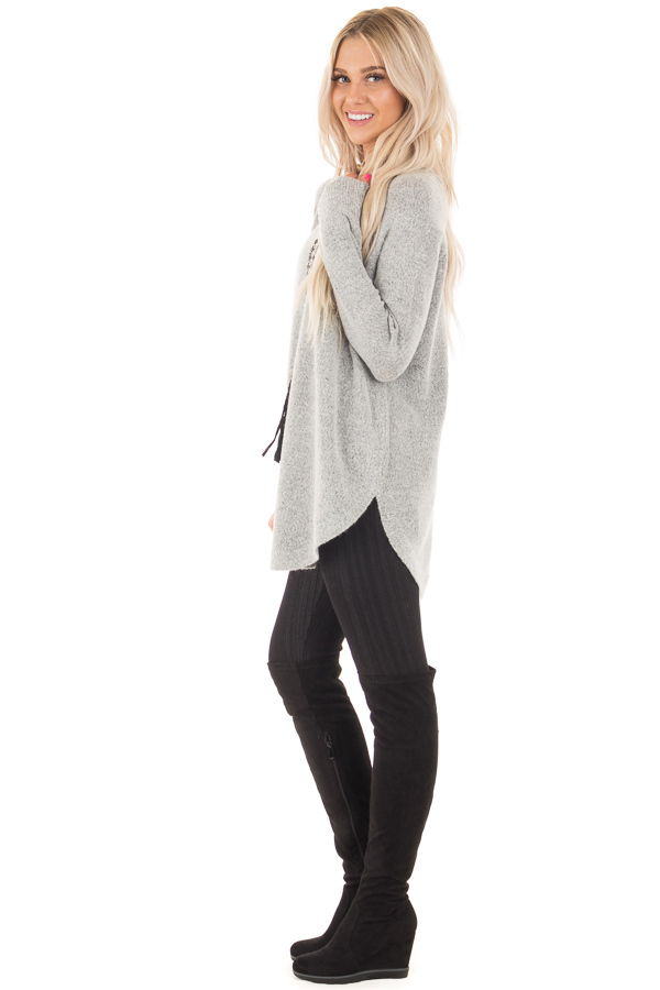 Heather Grey Soft Knit Sweater with Rounded Hem side full body