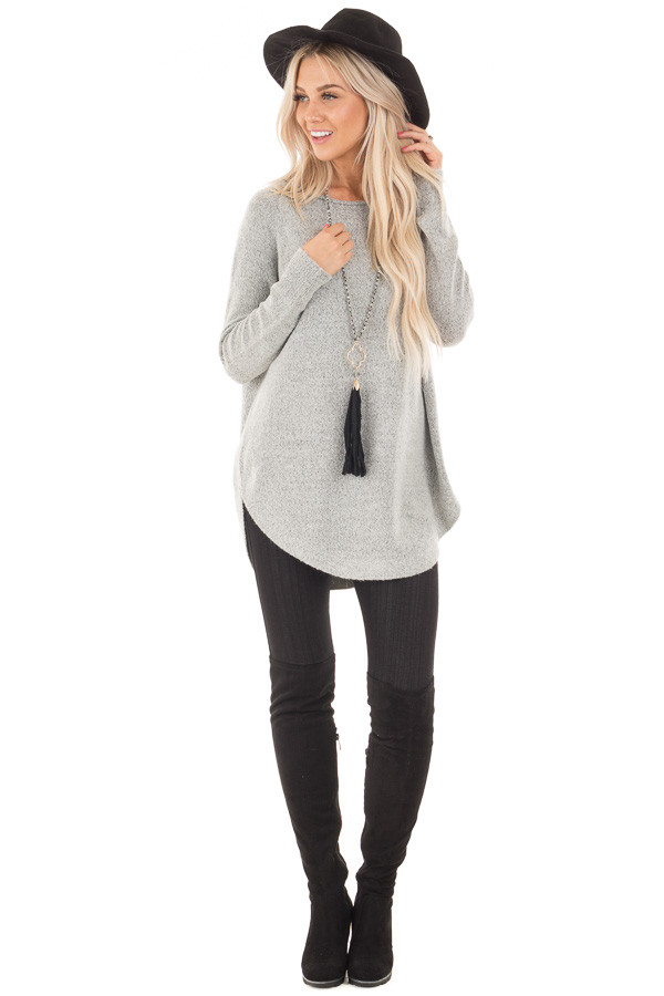 Heather Grey Soft Knit Sweater with Rounded Hem front full body