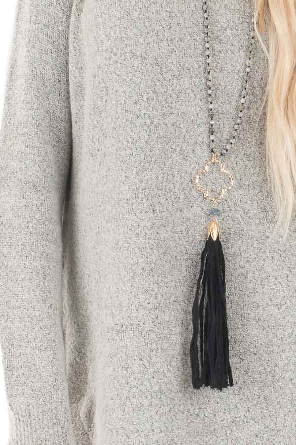 Heather Grey Soft Knit Sweater with Rounded Hem detail