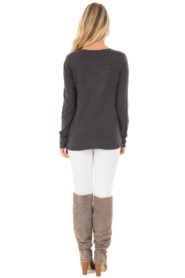 Charcoal Long Sleeve Sweater with Crossover Hemline back full body