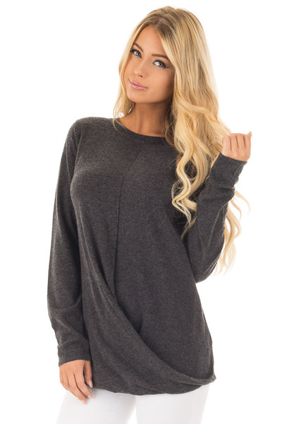 Charcoal Long Sleeve Sweater with Crossover Hemline front close up