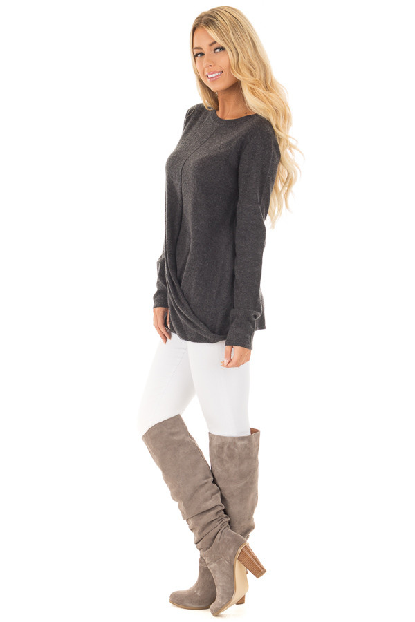 Charcoal Long Sleeve Sweater with Crossover Hemline side full body