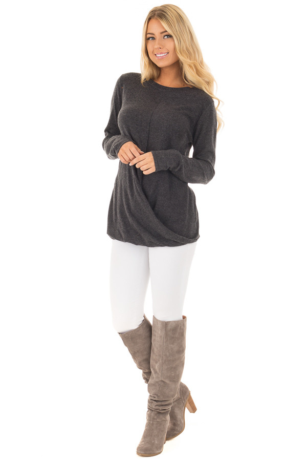 Charcoal Long Sleeve Sweater with Crossover Hemline front full body