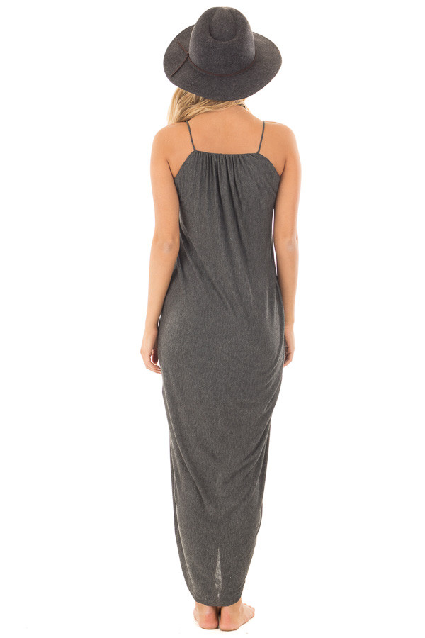 Charcoal Wrap High Low Midi Dress back full body