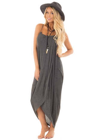 Charcoal Wrap High Low Midi Dress front full body