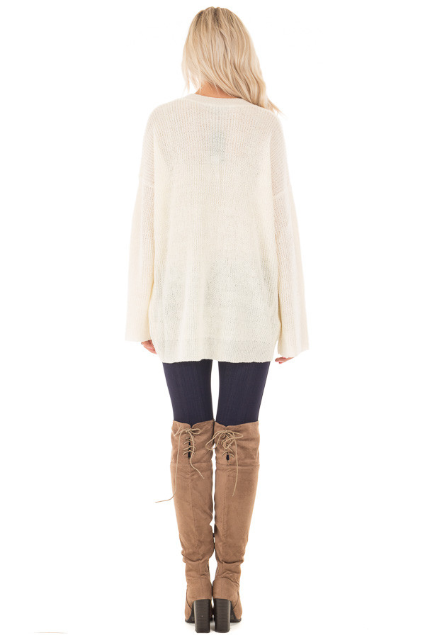Cream Oversized Sweater with Criss Cross V Neck back full body