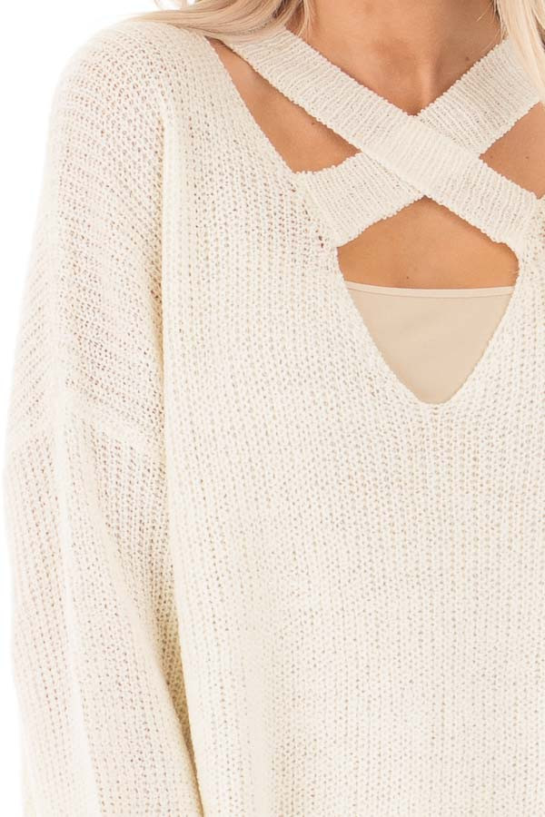 Cream Oversized Sweater with Criss Cross V Neck detail
