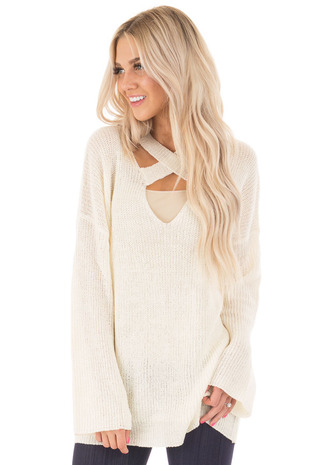 Cream Oversized Sweater with Criss Cross V Neck front close up