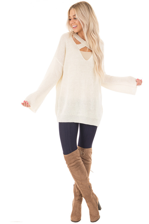 Cream Oversized Sweater with Criss Cross V Neck front full body