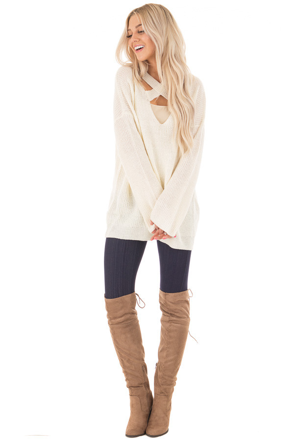 Cream Oversized Sweater with Criss Cross V Neck | Lime Lush