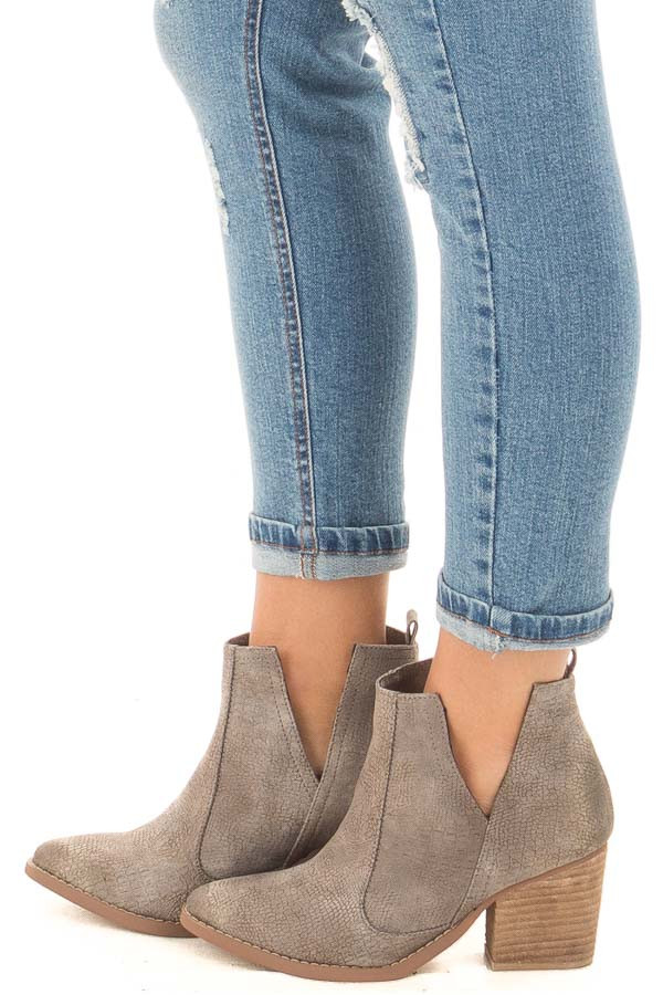 Grey Textured High Healed Bootie side view