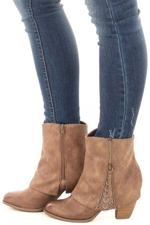 Taupe Faux Leather Bootie with Zipper and Crochet Detail side view