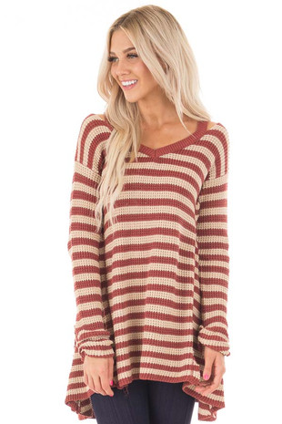 Rust and Taupe Striped V Neck Sweater Dress front close up