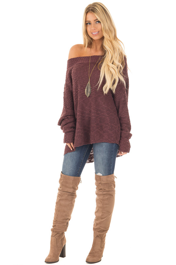 Burgundy Ribbed Knit Off Shoulder Sweater front full body