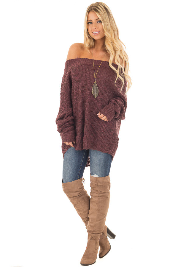 Burgundy Ribbed Knit Off Shoulder Sweater | Lime Lush