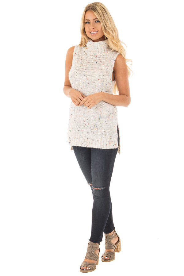Ivory Confetti Sleeveless Cowl Neck Sweater front full body
