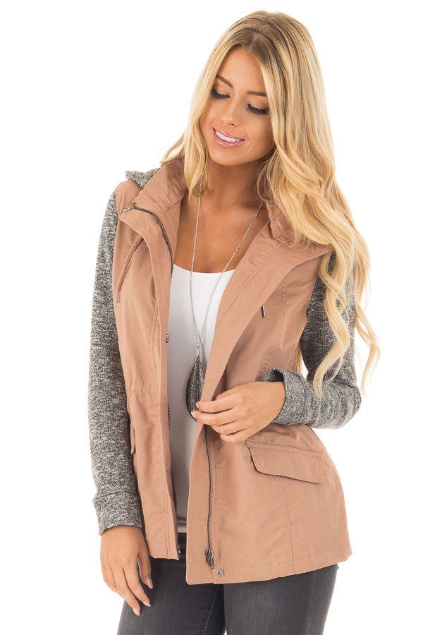 Deep Blush Cargo Jacket with Grey Knit Contrast front close up