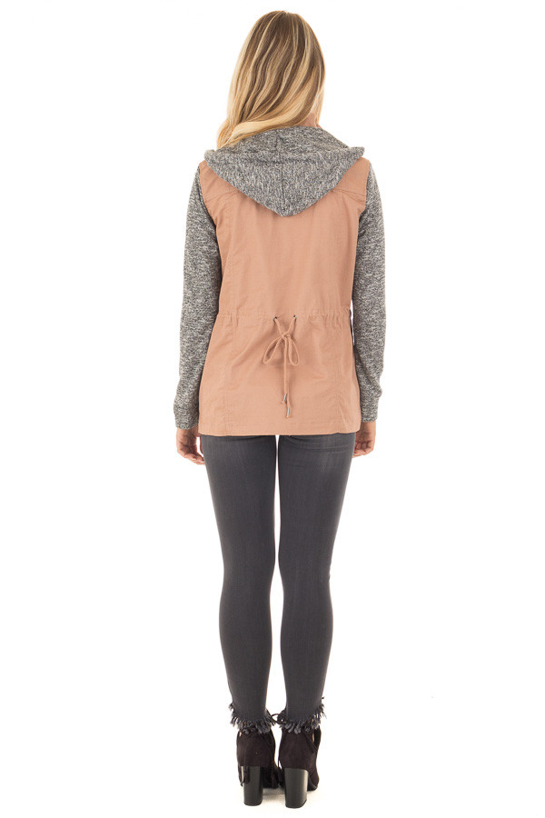 Deep Blush Cargo Jacket with Grey Knit Contrast back full body