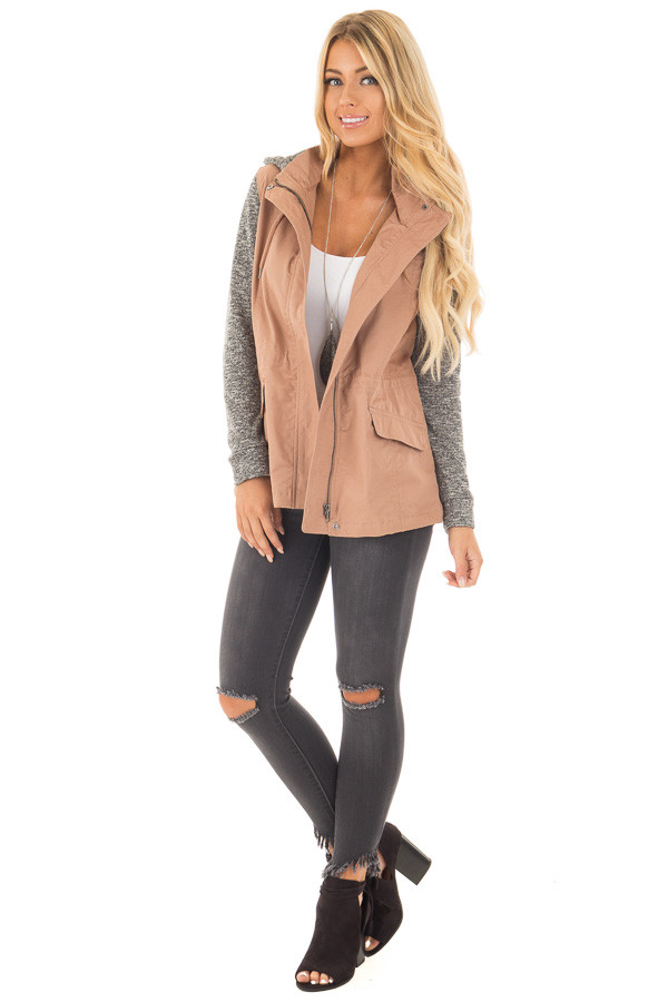 Deep Blush Cargo Jacket with Grey Knit Contrast front full body