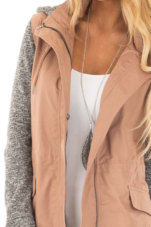Deep Blush Cargo Jacket with Grey Knit Contrast detail