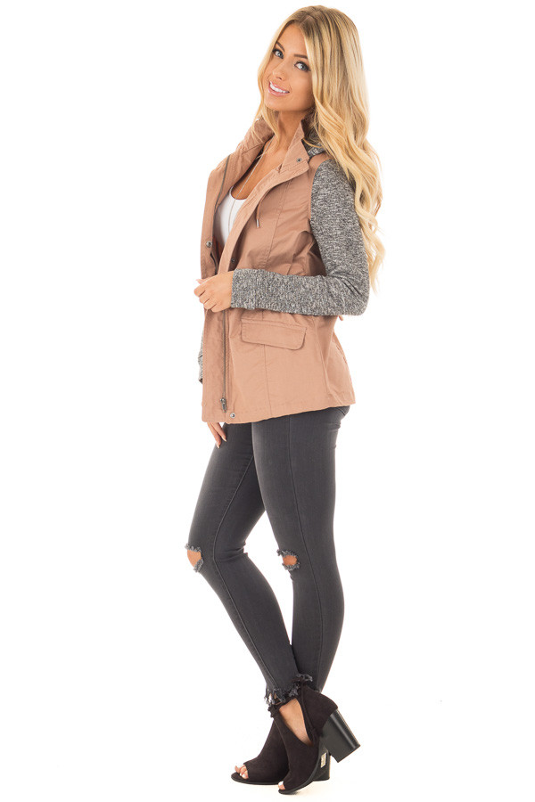 Deep Blush Cargo Jacket with Grey Knit Contrast side full body