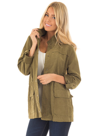 Olive Faux Suede Cargo Jacket front close up
