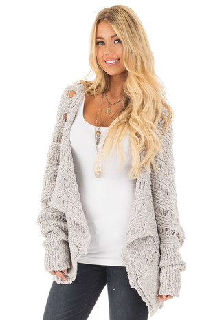 Light Grey Bolero Knit Sweater with Pockets front close up