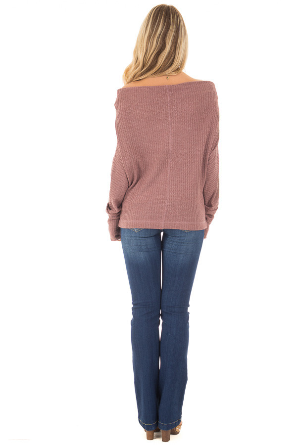 Brick Waffle Knit Off the Shoulder Long Sleeve Top back full body