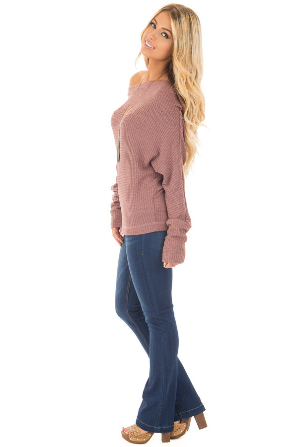 Brick Waffle Knit Off the Shoulder Long Sleeve Top side full body