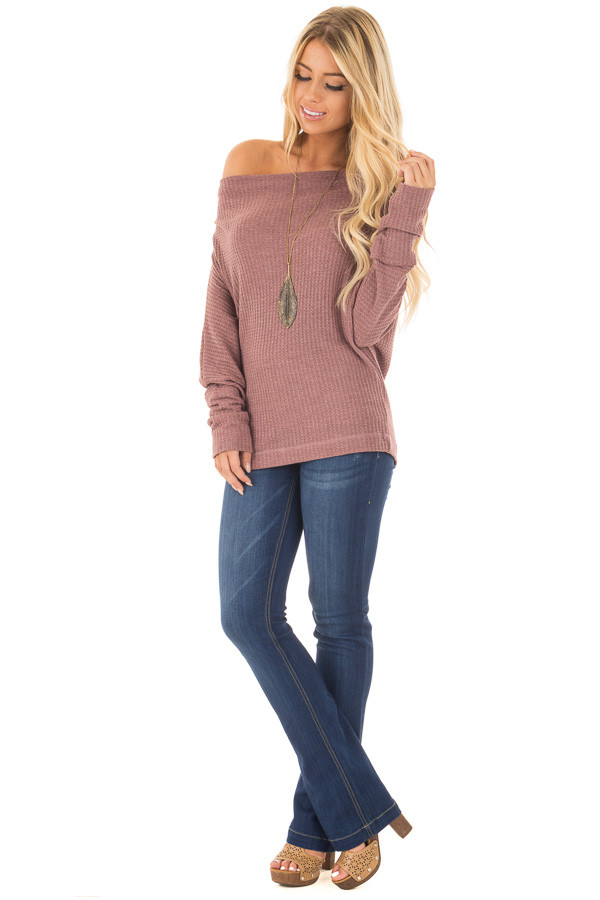 Brick Waffle Knit Off the Shoulder Long Sleeve Top front full body