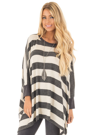 Oatmeal and Charcoal Striped Soft Knit Comfy Top front close up