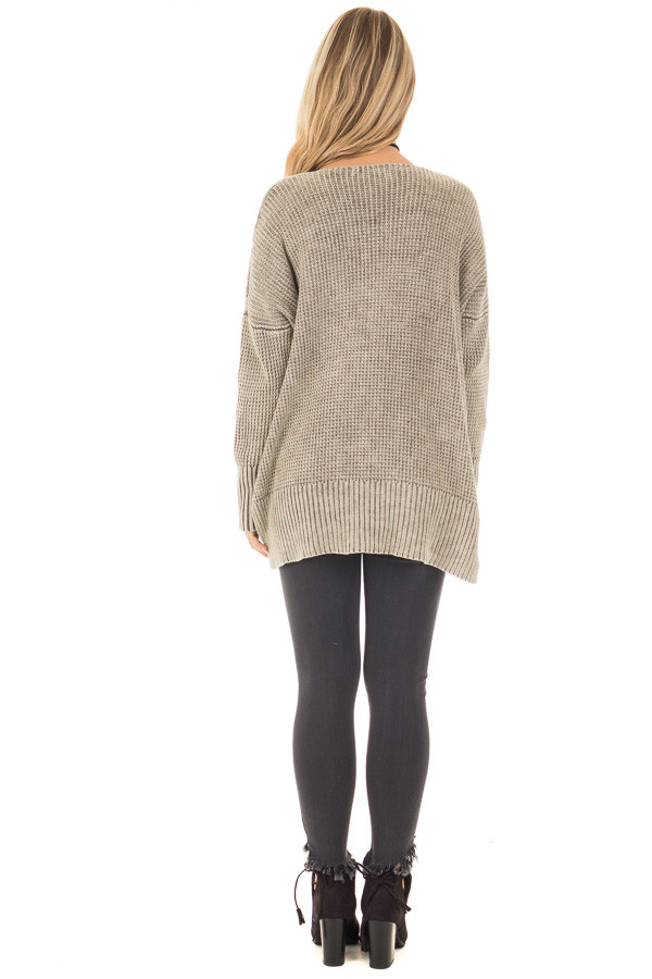 Faded Olive Cable Knit V Neck Sweater back full body
